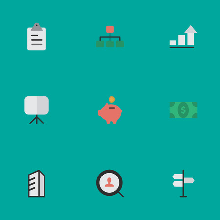 Vector Illustration Set Of Simple Trade Icons. Elements Easel, Apartment, Greenback And Other Synonyms Growing, Greenback And Engine. Ilustração