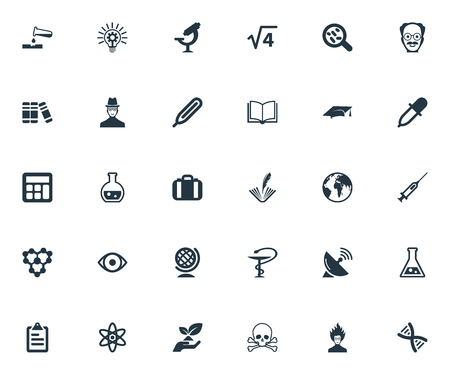 Vector Illustration Set Of Simple Science Icons. Elements Toxic Substance, Ecology, Syringe And Other Synonyms Graduation, Molecule And Thermometer.