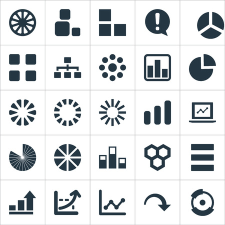 Vector Illustration Set Of Simple  Icons. Elements Surge, Lecture, Circle Diagram And Other Synonyms Decrease, Menu And Exclamation.
