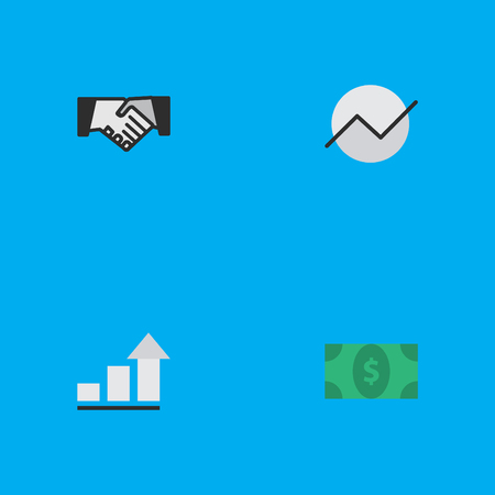 Vector Illustration Set Of Simple Job Icons. Elements Greenback, Agreement, Diagram And Other Synonyms Agreement, Increase And Diagram. Illustration