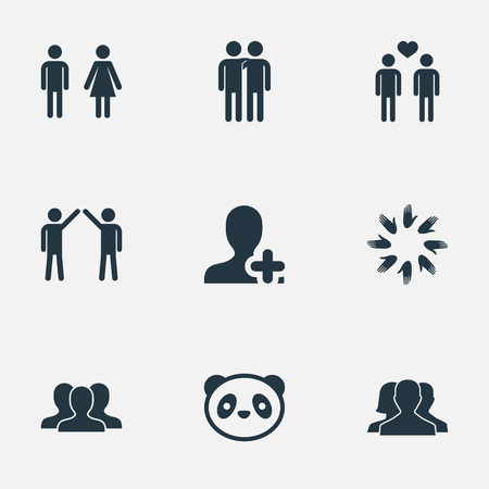 Vector Illustration Set Of Simple Fellows Icons. Elements Fellows, Toy, Unity And Other Synonyms Men, Panda And Union.