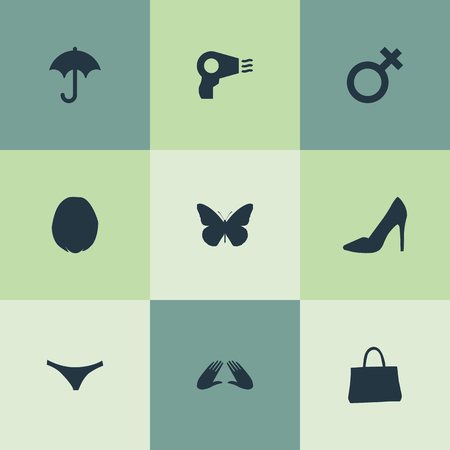 Vector Illustration Set Of Simple Beauty Icons. Elements Blowdryer, Nature, Elegant Footwear And Other Synonyms Umderwear, Manicure And Purse. Ilustração