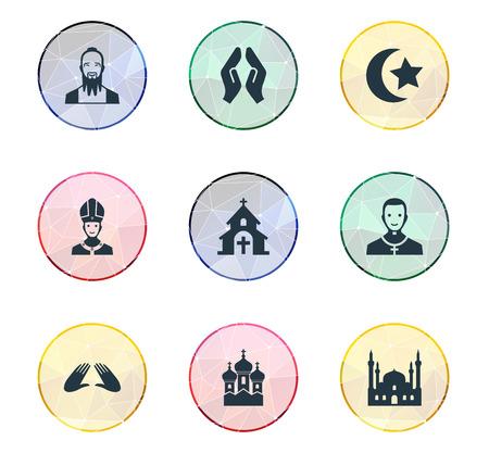 Elementen Mohammedanisme, Christen, Taoïsme en Andere synoniemen Kapel, God en Katholiek. Vectorillustratiereeks Eenvoudige Geloofspictogrammen.