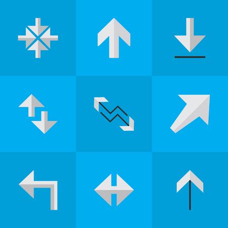 요소 적재, 남서 방향, 오리엔테이션 및 기타 동의어 방향,로드 및 화살표. 벡터 일러스트 레이 션 간단한 화살표 아이콘의 집합입니다.