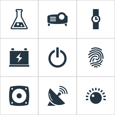 Elements Satellite Antenna, Thumbprint, Volume Control And Other Synonyms Charge, Control And Sputnik.  Vector Illustration Set Of Simple Hitech Icons. Иллюстрация