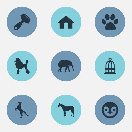 요소 사파리, Hippodrome, 곱슬 강아지 및 다른 동의어 감옥, 애완 동물 및 발자국. 벡터 일러스트 레이 션 간단한 동물 아이콘의 집합입니다.