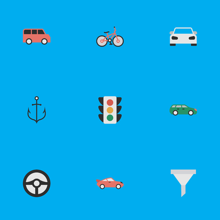 Elements Sedan, Traffic Lights, Sport And Other Synonyms Percolator, Anchor And Filter.  Vector Illustration Set Of Simple Transportation Icons.