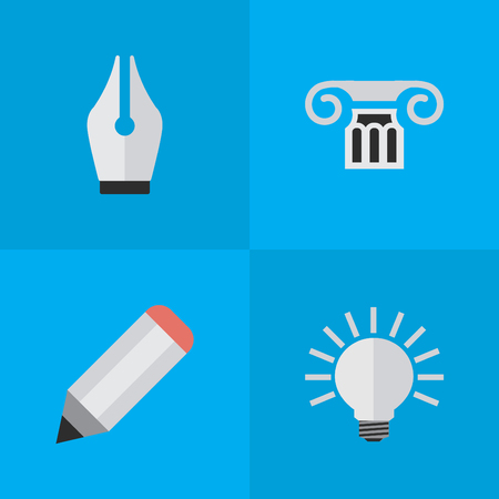 要素の電球、ペン、ペン先、他の同義語の描画、大学およびペン先。 単純な知識アイコンのベクター イラスト セット。