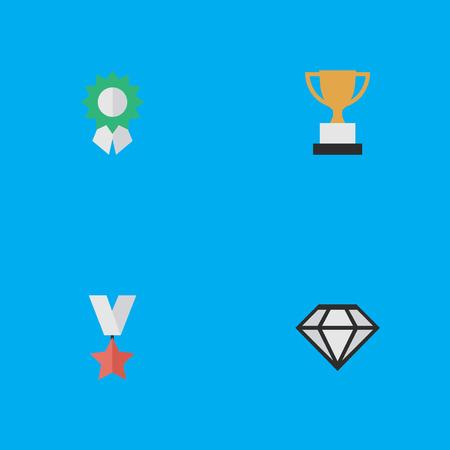 요소 다이아몬드, 잔, 트로피 및 기타 동의어 잔, 다이아몬드 및 수상입니다. 벡터 일러스트 레이 션 간단한 성취 아이콘의 집합입니다. 일러스트