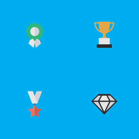Elements Diamond, Goblet, Trophy And Other Synonyms Goblet, Diamond And Award.  Vector Illustration Set Of Simple Achievement Icons.