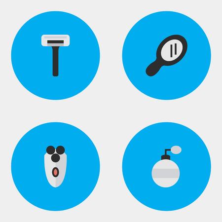 シェービング マシン、シェーバー、香り、他の同義語機要素かみそりとガラス。 単純な床屋アイコンのベクター イラスト セット。