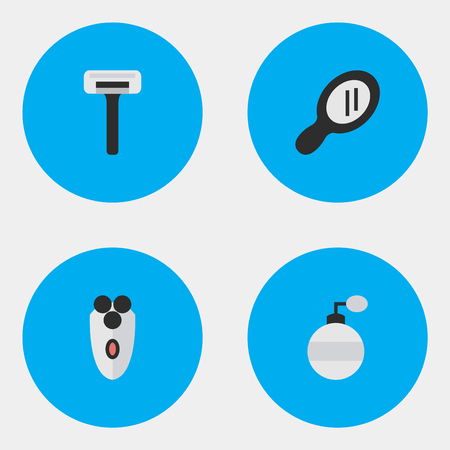 Elementen scheermachine, scheerapparaat, geur en andere synoniemenmachine, scheermes en glas. Vectorillustratiereeks Eenvoudige Kapperpictogrammen.