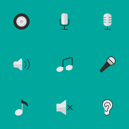 요소 듣기, 마이크, 참고 및 기타 동의어 레코드, 앰프 및 마이크. 벡터 일러스트 레이 션 간단한 아이콘의 집합입니다.