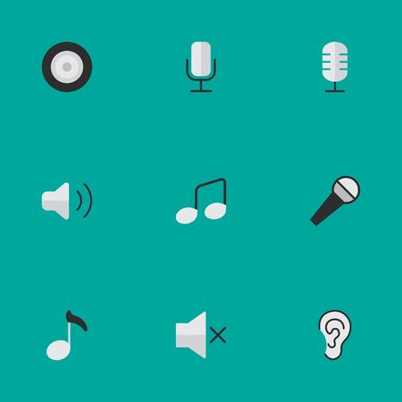 Elementen luisteren, microfoon, noot en andere synoniemen opnemen, versterker en microfoon. Vector illustratie Set van eenvoudige pictogrammen.