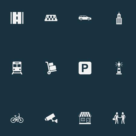 Elementi Airport Cart, Taxi, Supervision e altri sinonimi Kiosk, Auto e bagagli. Illustrazione vettoriale Set di icone di infrastruttura semplice. Archivio Fotografico - 83338519