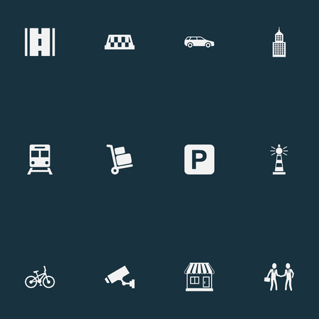 Elements Airport Cart, Taxi, Supervision And Other Synonyms Kiosk, Auto And Luggage.  Vector Illustration Set Of Simple Infrastructure Icons.