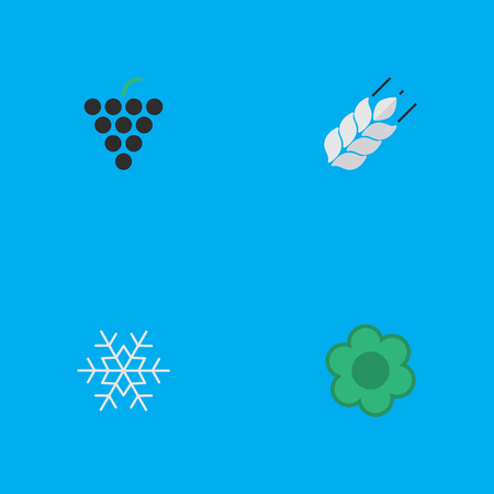 Elements Flower, Wine, Flake Of Snow And Other Synonyms Bread, Wineglass And Wine.  Vector Illustration Set Of Simple Garden Icons.