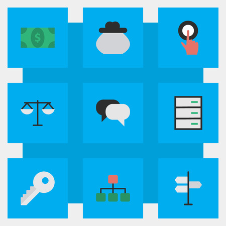 Elements Talking, Justice, Wallet And Other Synonyms Drawer, Meeting And Justice.  Vector Illustration Set Of Simple Business Icons.
