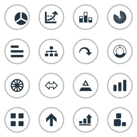 Elements Reverse Arrows, Triangle, Growth And Other Synonyms Component, Strategy And Direction.  Vector Illustration Set Of Simple  Icons. Illustration