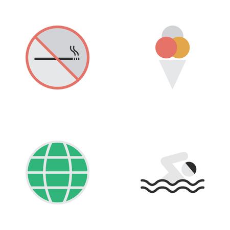 Elements Sorbet, World, Pool And Other Synoniemen Smoking, Globe And Planet. Vectorillustratiereeks Eenvoudige Reispictogrammen.