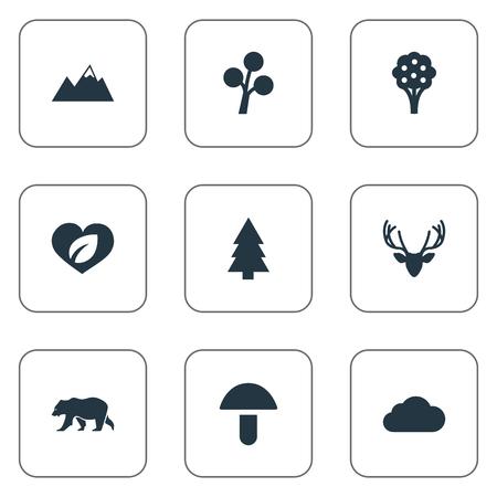 Elementen ijsbeer, champignon, dennenboom en andere synoniemen Paddestoel, boom en top. Vectorillustratiereeks Eenvoudige Biopictogrammen. Stock Illustratie