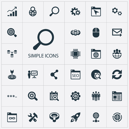Elements Group, Bookmark, Share And Other Synonyms Unit, Update And Motherboard.  Vector Illustration Set Of Simple Optimization Icons.