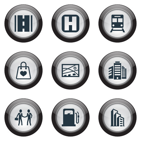 Elements Bag, Megapolis, Way And Other Synonyms Bag, Businessmen And Box.  Vector Illustration Set Of Simple Public Icons.