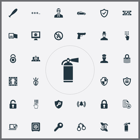 Elements Safeguard, Strongbox, Shield And Other Synonyms Unsafe, Password And Finger.  Vector Illustration Set Of Simple Security Icons.