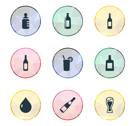 Elements Soda, Bottle, Liquid And Other Synonyms Baby, Nutrition And Champagne.  Vector Illustration Set Of Simple Water Icons.
