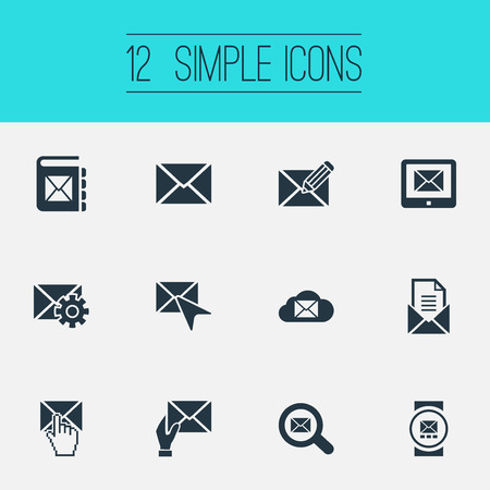 Elementen zoeken, postkantoor, afstemming en ander synoniemenadres, opslag en push. Vector illustratie Set van eenvoudige communicatie iconen.