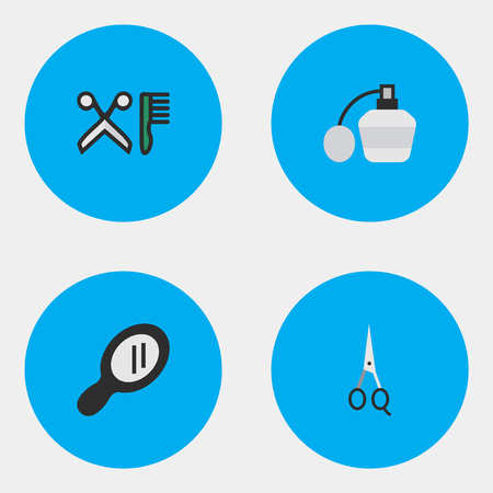 Elements Glass, Comb, Scissors And Other Synonyms Mirror, Hairdresser And Clippers.  Vector Illustration Set Of Simple Hairdresser Icons.