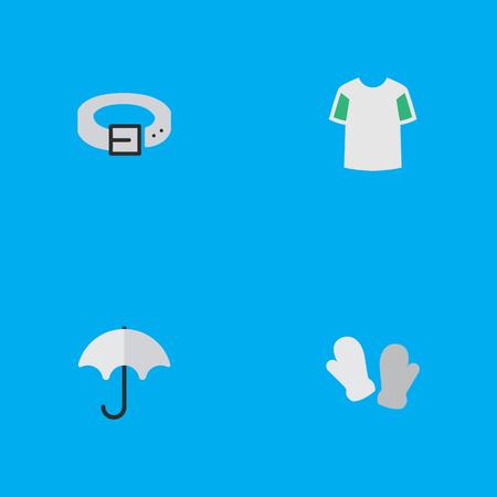 Léments Parasol, Jersey, Dragonne et Autres Synonymes Pluie, Ceinture Et Chemise Illustration vectorielle définie des icônes d'instrument simple. Banque d'images - 83338555