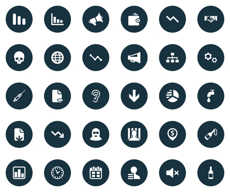 Elements Reminder, Graph Decreases, Injection And Other Synonyms Report, Downward And Alcohol.  Vector Illustration Set Of Simple Trouble Icons.