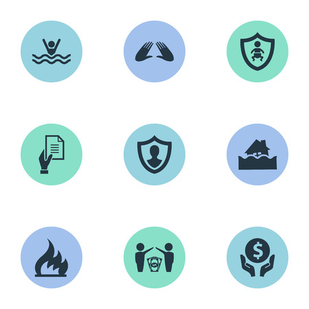 torrent: Elements Hand, Protect Currency, Agreement Synonyms Human, Ignition And Torrent.  Vector Illustration Set Of Simple Safeguard Icons.