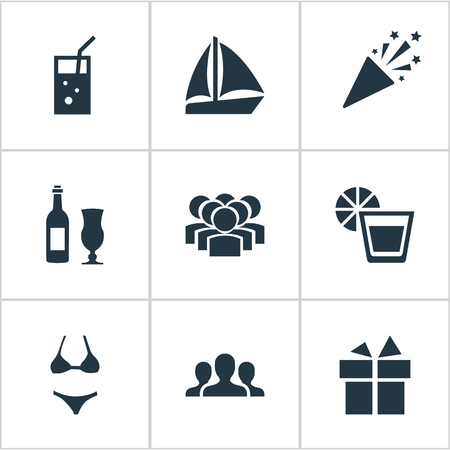 Elements Wine, Surprise, Team And Other Synonyms Wineglass, Party And Yachting.  Vector Illustration Set Of Simple Party Icons. Illustration