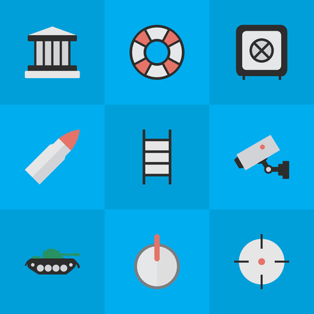 goal cage: Elements Shot, Grille, Supervision And Other Synonyms Military, Save And Lifebuoy.  Vector Illustration Set Of Simple Offense Icons. Illustration