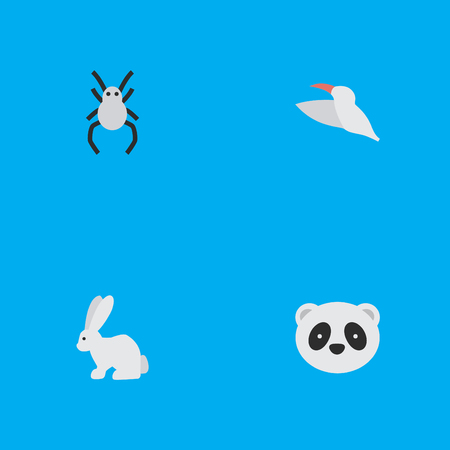 Elements Hare, Crane, Tarantula And Other Synonyms Bunny, Widow And Animal.  Vector Illustration Set Of Simple Wild Icons. Illustration