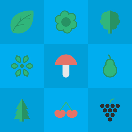 Elements Punching Bag, Fungus, Blossom And Other Synonyms Flower, Mushroom And Tree.  Vector Illustration Set Of Simple Garden Icons.