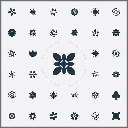 Elementen Marguerite, Pioenrozen, Saffraan en andere synoniemen Cypress, Crocus en Harebell. Vector illustratie Set van eenvoudige pictogrammen. Stock Illustratie