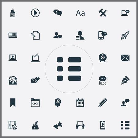 요소 사이트, 알림, Cedilla 및 기타 동의어 카메라, 캘린더 및 셔틀. 벡터 일러스트 레이 션 간단한 사용자 아이콘의 집합입니다. 일러스트