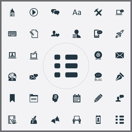 Elements Site, Reminder, Cedilla And Other Synonyms Camera, Calendar And Shuttle.  Vector Illustration Set Of Simple User Icons. Illustration