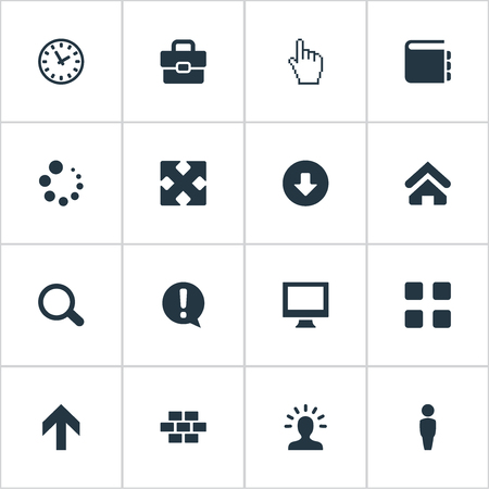 Elements Upwards, Pointer, Constructing And Other Synonyms Wall, SEO And Home.  Vector Illustration Set Of Simple Interface Icons. Ilustrace