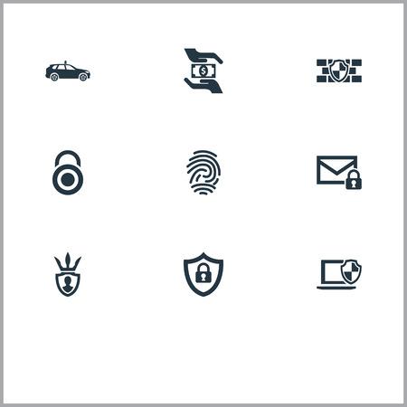 Éléments de sécurité, protecteur, top secret et autres synonymes main, sauvegarde et voiture. Vector Illustration Set d'icônes de protection simple.