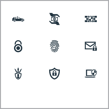 Elements Security, Protector, Top Secret And Other Synonyms Hand, Safeguard And Car.  Vector Illustration Set Of Simple Protection Icons. Illustration