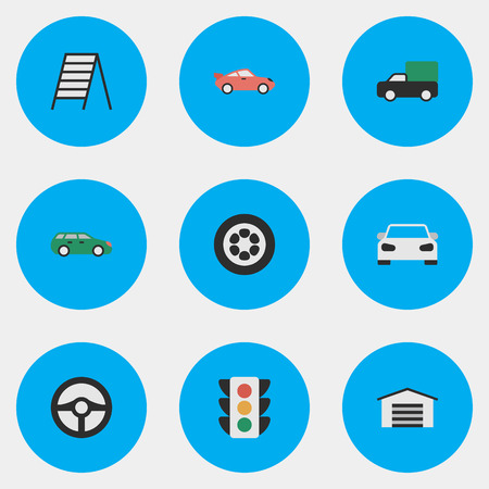 Elements Sedan, Pickup, Steering And Other Synonyms Ladder, Wheel And Circle.  Vector Illustration Set Of Simple Transportation Icons.