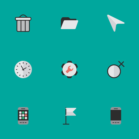 Elements Time, File, Mobile Phone And Other Synonyms Time, Female And Woman.  Vector Illustration Set Of Simple Interface Icons.