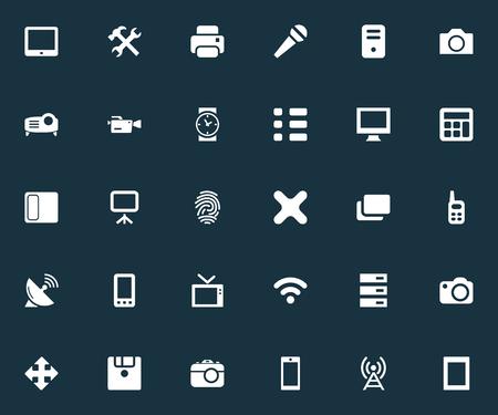 要素の通信、テレビ、コピー機、他の同義語のコピー機の撮影、プロジェクター。 簡単なハードウェアのアイコンのベクトル イラスト セット。