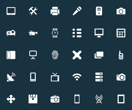 Elements Telecommunication, Television, Photocopier And Other Synonyms Photocopier, Photographing And Projector.  Vector Illustration Set Of Simple Hardware Icons. Illustration