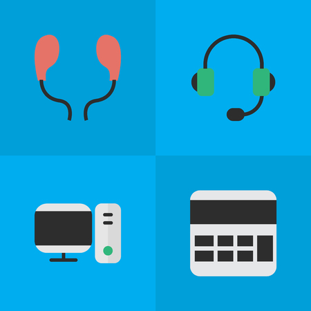 Elements Microphone, Earphone, PC And Other Synonyms Earphone, Calculate And Accounting.  Vector Illustration Set Of Simple Devices Icons. Illustration
