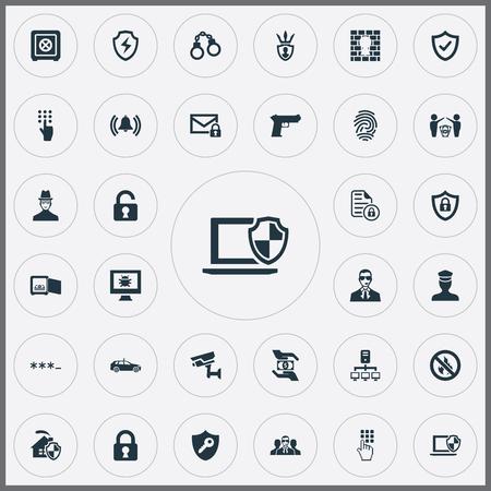 パスワード、サイレンおよび他の類義語のピストルは、安全でない入力要素ドルと監視。 セキュリティで保護されたシンプルなアイコンのベクター   イラスト・ベクター素材